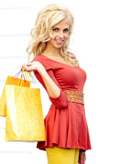 shopping woman in city