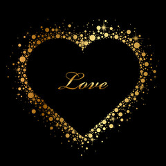 Vector black background with glowing heart