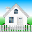 Vector illustration of house and garden