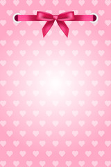 Vector pink background with hearts and ribbon