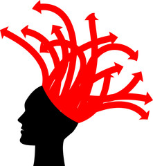 vector illustration of head with red arrows