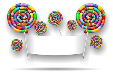 Lollipop Rainbow Party Banner-Chupa Chupa Arcobaleno Festa