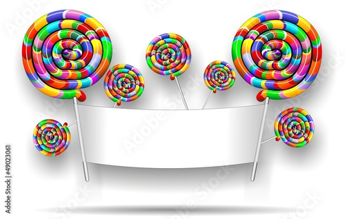 Lollipop Rainbow Party Banner-Chupa Chupa Arcobaleno Festa