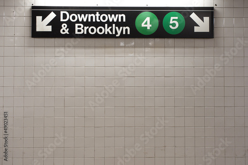 New York city subway sign in midtown Manhattan station  - 49023451