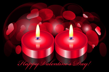 Vector romantic background with two candles