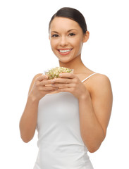woman with mung sprout beans