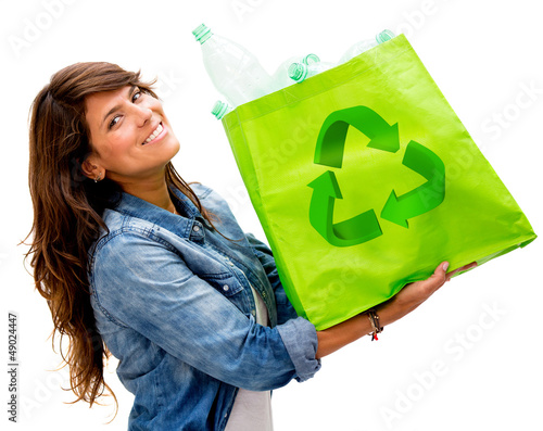 Woman with an ecological bag