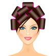 Vector illustration of woman with curlers
