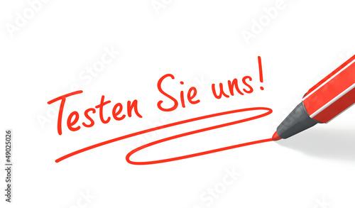 Stift- & Schriftserie: Testen Sie uns! rot