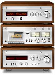 Analog Music Stereo Audio Compact Cassette Deck with Amplifier a