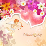 Valentine's day card with lilies, hearts and cupid