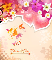 Valentine's day card with hearts, butterflies and lilies