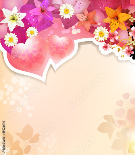 Romantic background for Valentine's day with hearts and lilies