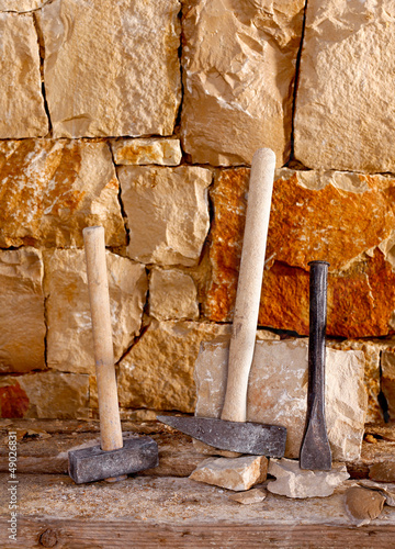 Hammer tools of stonecutter masonry work