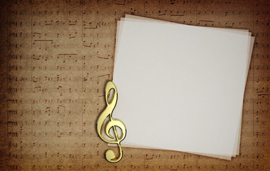Music notes on fabric texture background with copy-space