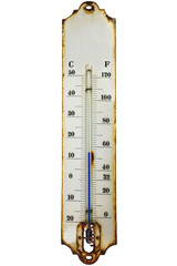 Antique rusty thermometer isolated on white