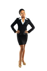 Full length of a cheerful young business woman posing