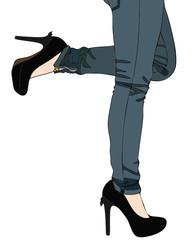 Jeans e sexy scarpe col tacco alto