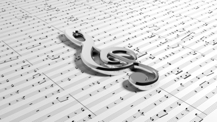 G clef on music notes background
