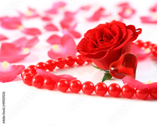 ed rose and petals with heart ans beads isolated