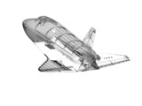 3D model of modern jet spaceship onwhite background