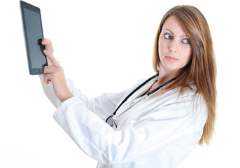 attractive doctor working with digital tablet