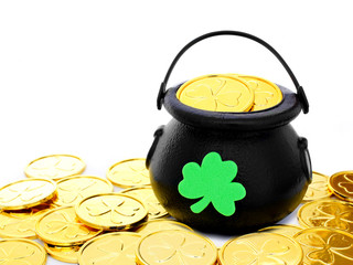 St Patrick's Day Pot of Gold among pile of coins