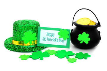 Happy St Patrick's Day tag, pot of gold, hat and shamrocks