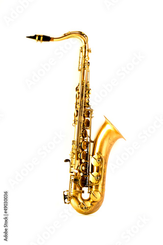 Tenor sax golden saxophone isolated on white