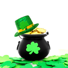 St Patrick's Day pot of gold with shamrocks and hat