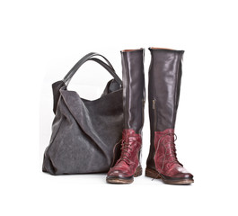 Female fashionable leather boots and Shopper Bag