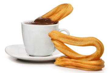 Taza de chocolate y churros.