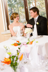 Bride and groom toasting