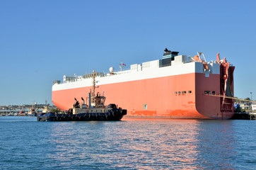 Cargo Ship and Tug Boat in Harbour