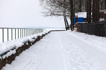 Aleja nad jeziorem w Turawie zimą.
