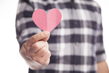 Man Holding Paper Heart