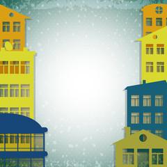 apartmert houses on vintage background