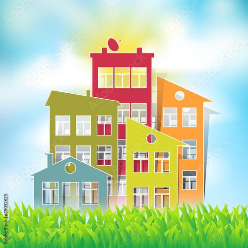 houses symbols on natural landscape