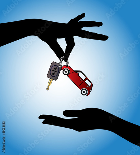 Hands exchanging car key with auto locking system and car symbol
