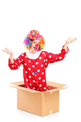 Smiling clown coming out of a cardboard box