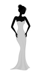 Silhouette of a girl in white evening dress