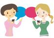 翻訳アプリで会話をする女性