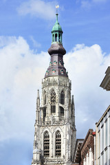 Tower of cathedral at old market, Breda, Holland,
