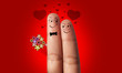 a couple of fingers in love for Valentine day