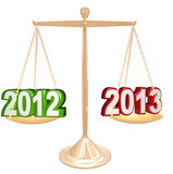 2012 Year Changing to 2013 New Years Scale Balance