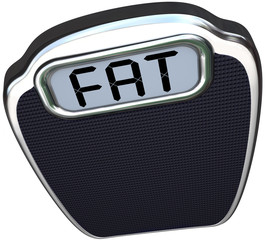 Fat Word on Scale Heavy Overweight Obese