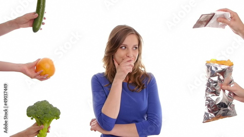 girl deciding what to eat