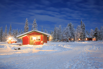Winter landscape at Night Lapland Sweden