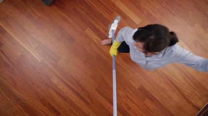 cleaning lady overhead broom dance