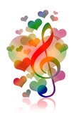 Love and music, hearts and treble clef over white